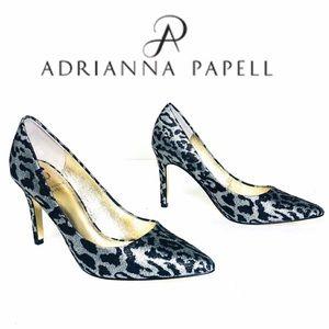 Adrianna Papell Metallic Leopard Print Heels 7.5